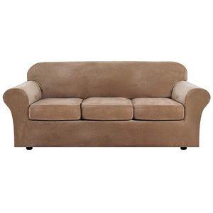 Large Velvet 4Pcs High Stretch Sofa Slipcover